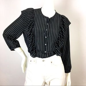 Madewell Black and White Pinstripe Blouse